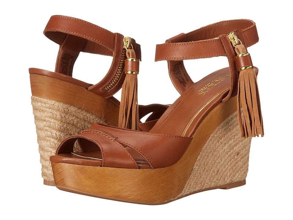 LAUREN Ralph Lauren Gwen Polo Tan Burnished Vachetta Womens Wedge Shoes