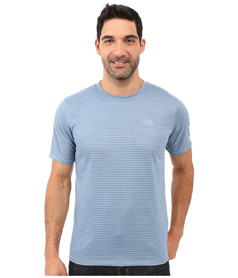 The North Face - Short Sleeve Crag Crew (Faded Denim Stripe) Men