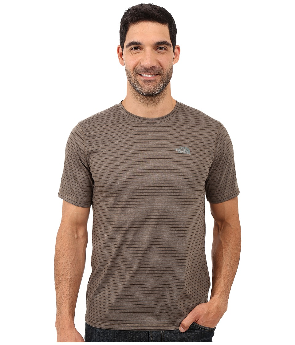 The North Face - Short Sleeve Crag Crew (Weimaraner Brown Stripe) Men