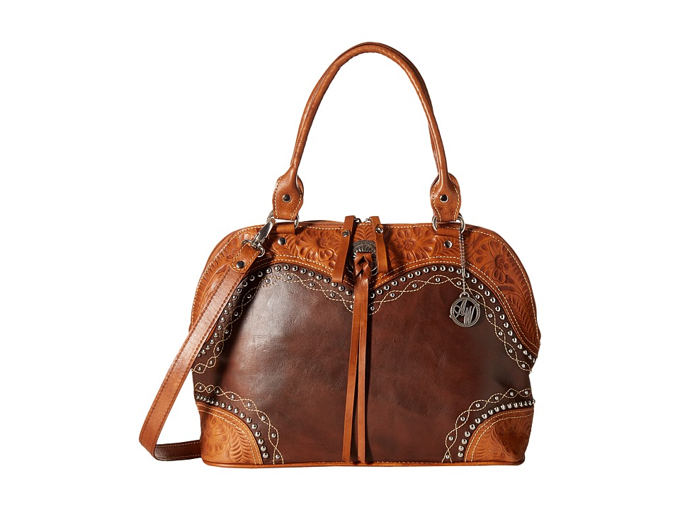American West - Chestnut Ridge Zip-Around Satchel/Crossbody (Chestnut Brown/Golden Tan) Satchel Handbags