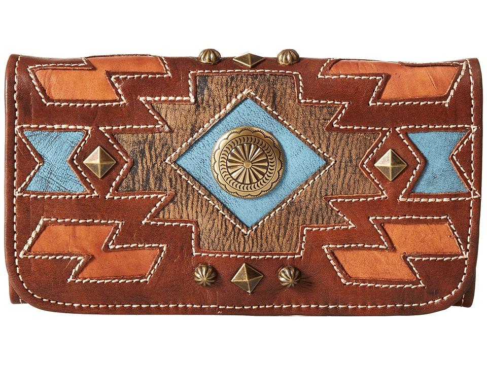 American West Zuni Passage Tri Fold Wallet Chestnut Brown Wallet Handbags