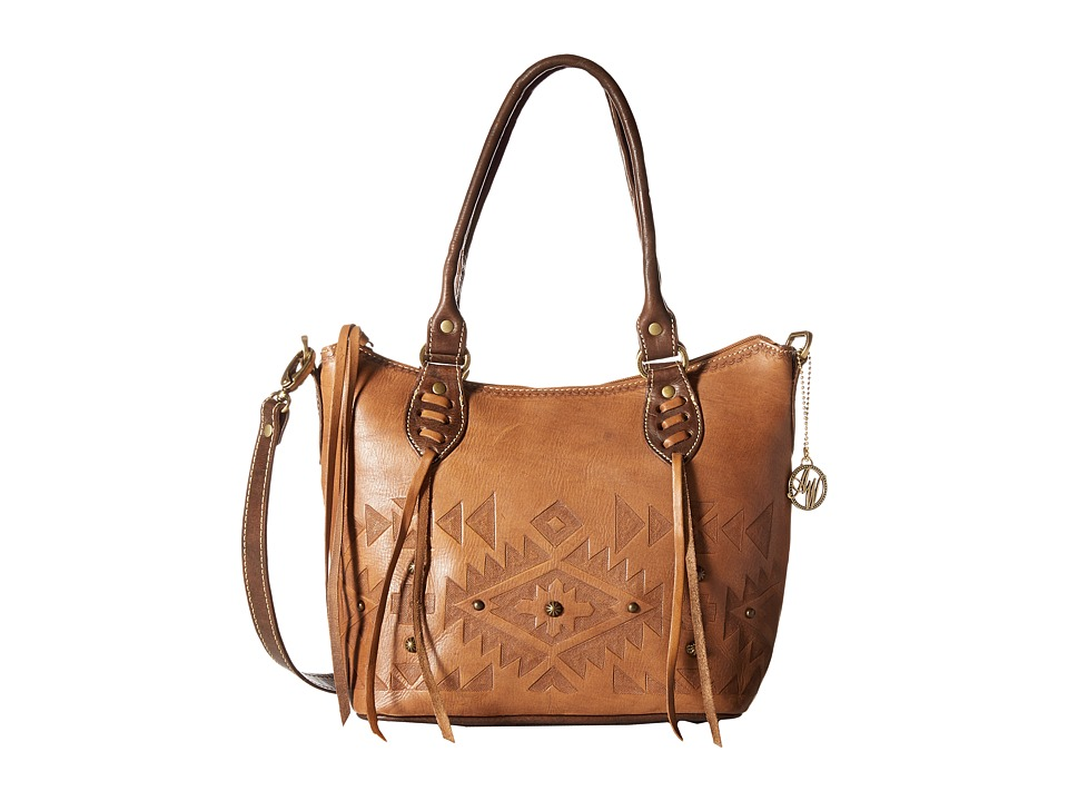 American West - Mystic Shadow Convertible Bucket Tote (Golden Tan/Chestnut Brown) Tote Handbags