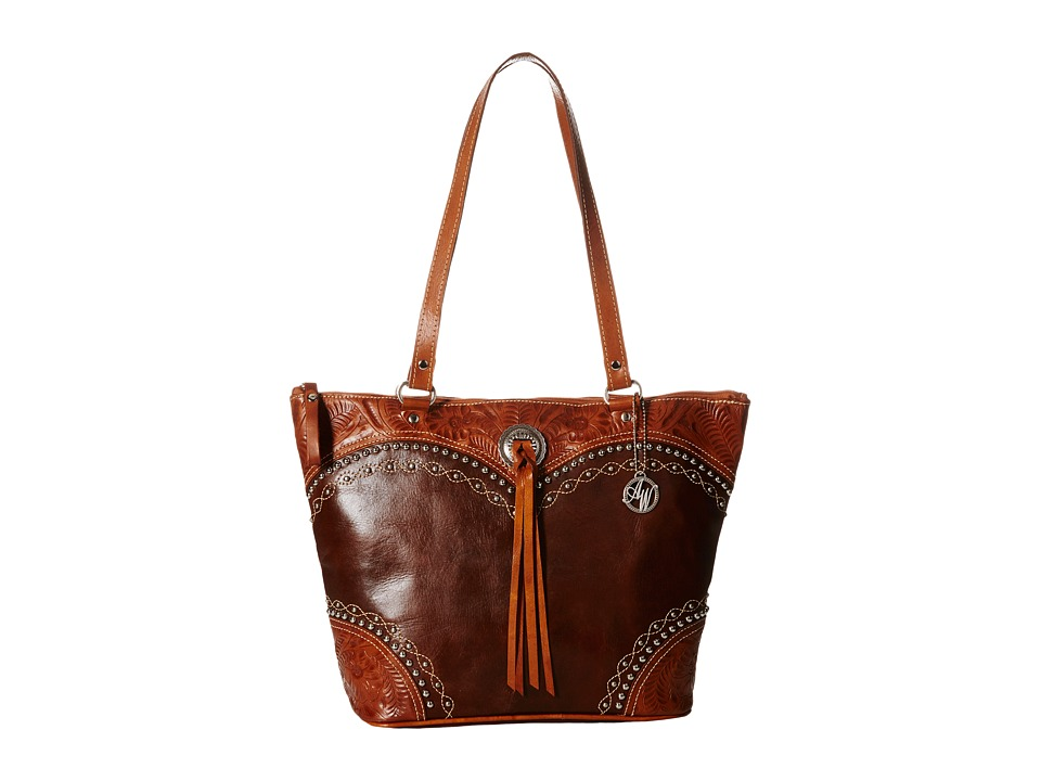 American West - Chestnut Ridge Bucket Tote (Chestnut Brown/Golden Tan) Tote Handbags