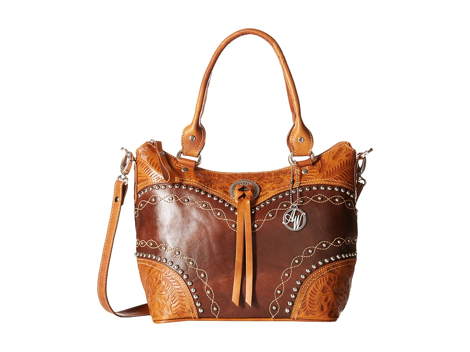 American West - Chestnut Ridge Convertible Bucket Tote (Chestnut Brown/Golden Tan) Tote Handbags