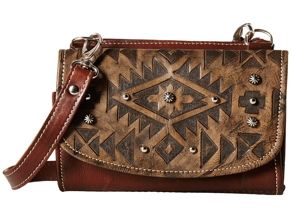 American West - Mystic Shadow Small Crossbody/Wallet (Distressed Charcoal Brown/Chestnut Brown) Cross Body Handbags