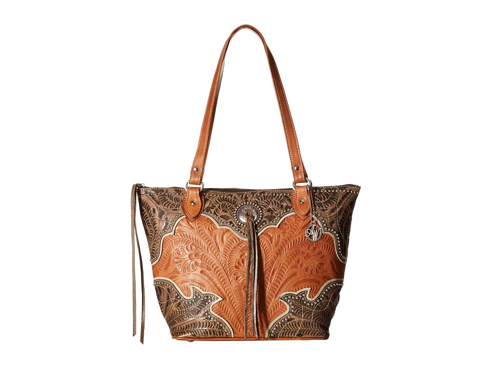 American West - Heart of Gold Zip Top Bucket Tote (Distressed Charcoal Brown/Golden Tan/Cream) Tote Handbags