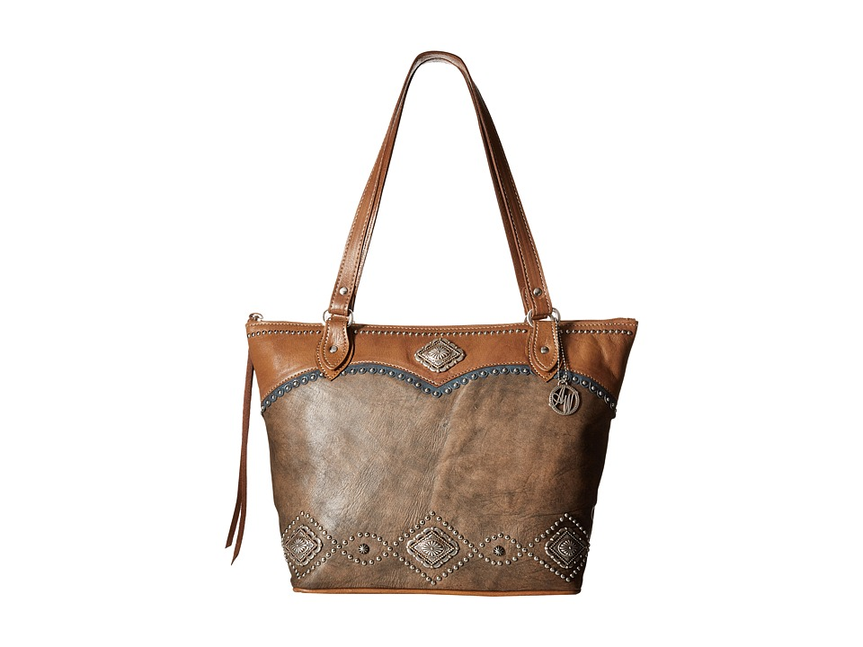 American West - Sierra Zip Top Bucket Tote (Chestnut Brown/Tan/Blue) Tote Handbags