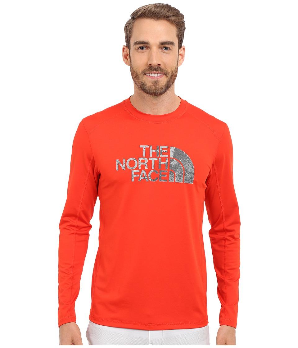 The North Face Long Sleeve Sink or Swim Rashguard Fiery Red/Asphalt Grey Moss Print Mens Swimwear
