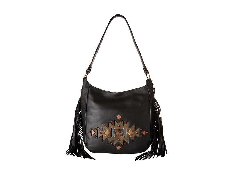 American West - Dream Catcher Slouch Shoulder Bag (Black/Tribal) Shoulder Handbags