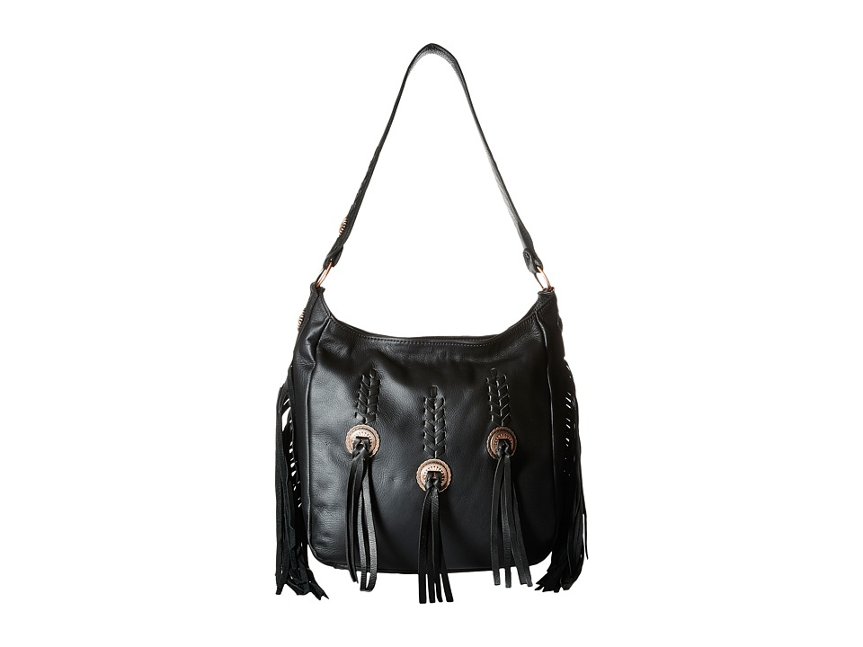 American West - Dream Catcher Slouch Shoulder Bag (Black/Copper/Fringe) Shoulder Handbags