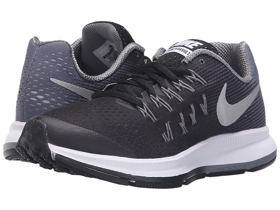 Nike Kids Zoom Pegasus 33 Little Kid/Big Kid Black/Cool Grey/Wolf Grey/Metallic Silver Boys Shoes