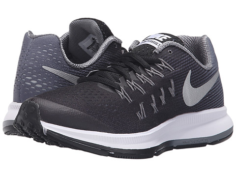 Nike Kids Zoom Pegasus 33 (Little Kid/Big Kid) - Black/Cool Grey/Wolf Grey/Metallic Silver
