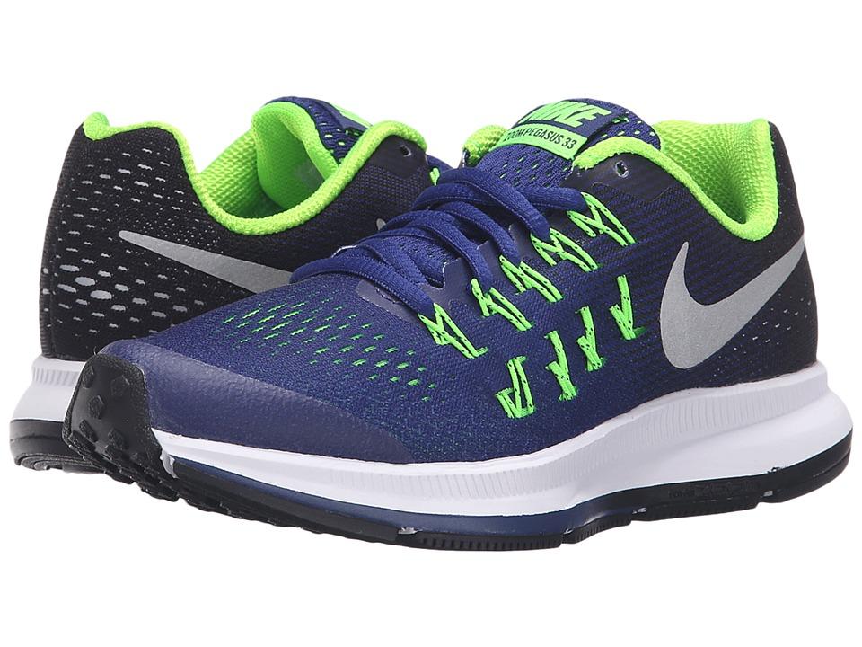 Nike Kids Zoom Pegasus 33 Little Kid/Big Kid Deep Royal Blue/Black/Electric Green/Metallic Silver Boys Shoes
