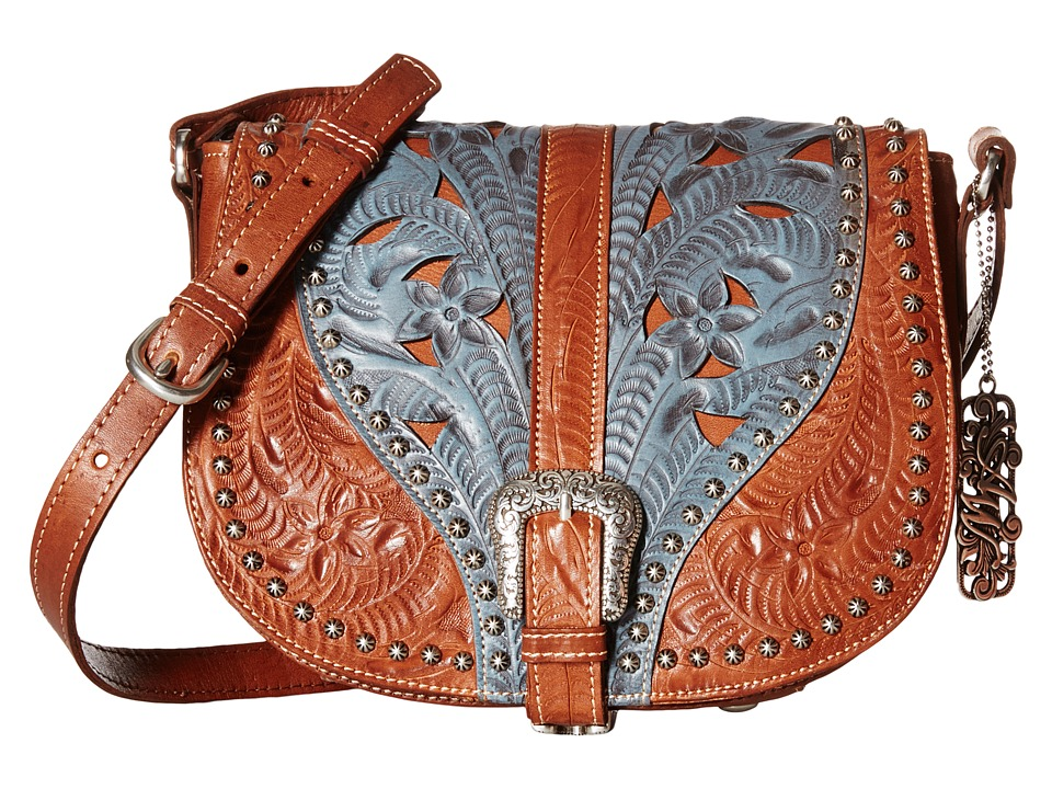 American West - Blazing Saddle Saddle Flap Crossbody (Antique Brown/Denim Blue) Cross Body Handbags