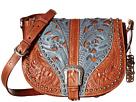 American West Blazing Saddle Saddle Flap Crossbody (Antique Brown/Denim Blue)