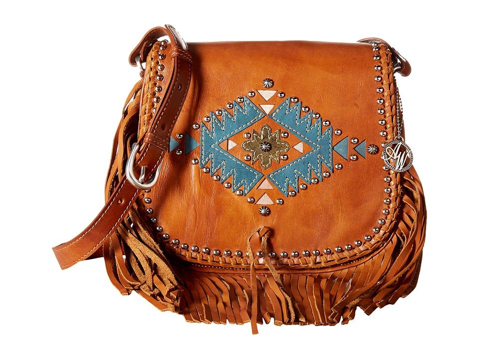 American West - Pueblo Moon Fringe Flap Crossbody (Golden Tan) Cross Body Handbags