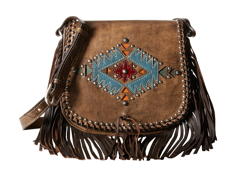 American West - Pueblo Moon Fringe Flap Crossbody (Distressed Charcoal Brown) Cross Body Handbags