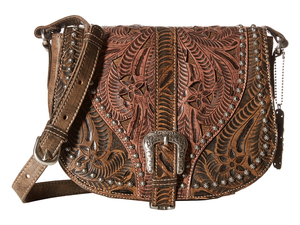 American West - Blazing Saddle Saddle Flap Crossbody (Distressed Charcoal Brown/Dusty Rose) Cross Body Handbags
