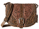 American West Blazing Saddle Saddle Flap Crossbody (Distressed Charcoal Brown/Dusty Rose)