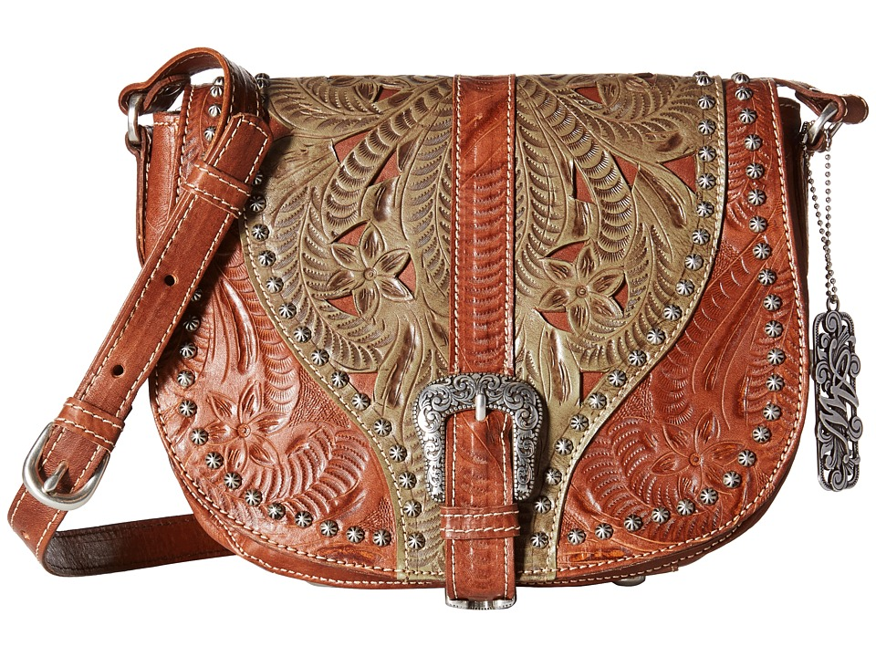 American West - Blazing Saddle Saddle Flap Crossbody (Antique Brown/Avocado) Cross Body Handbags