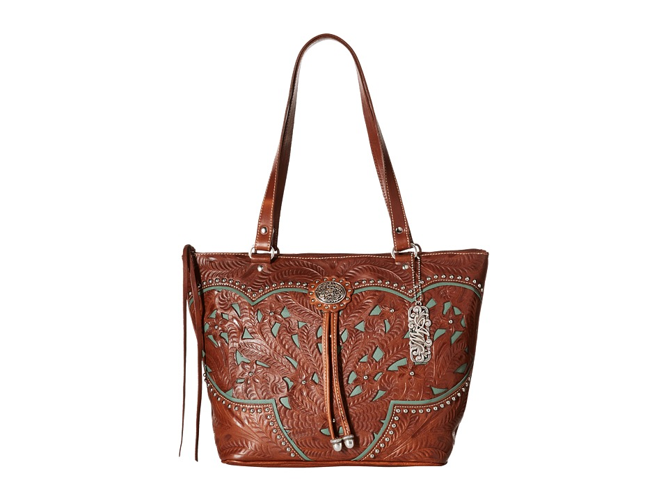 American West - Lady Lace Zip Top Bucket Tote (Antique Brown/Turquoise) Tote Handbags