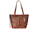 American West Lady Lace Zip Top Bucket Tote (Antique Brown/Turquoise)