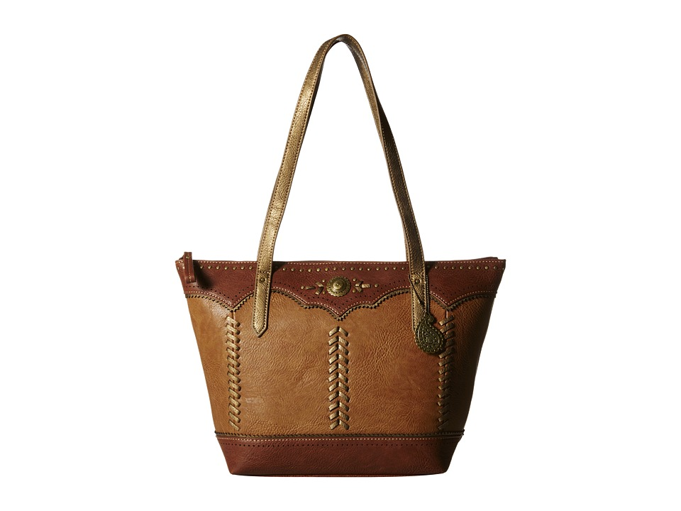 American West - Grand Junction Zip Top Tote (Golden Tan/Brown) Tote Handbags