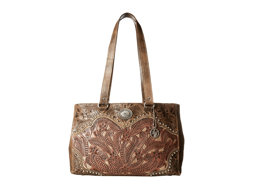 American West - Rosewood Shopper Tote (Distressed Charcoal Brown/Dusty Rose/Sand) Tote Handbags