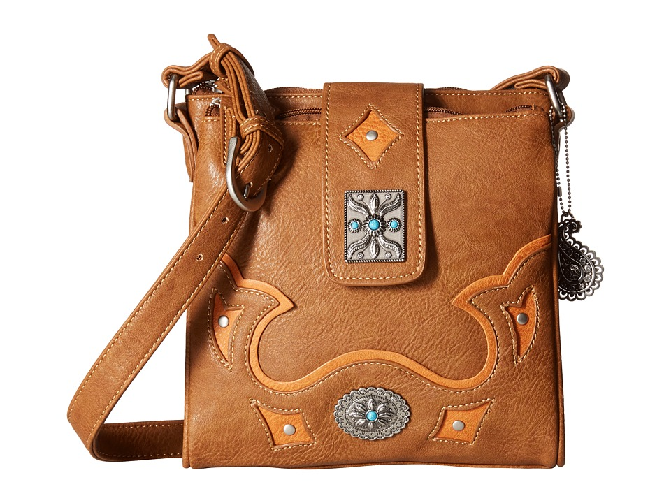 American West - Lexington Organized Crossbody (Tan/Golden Tan) Cross Body Handbags