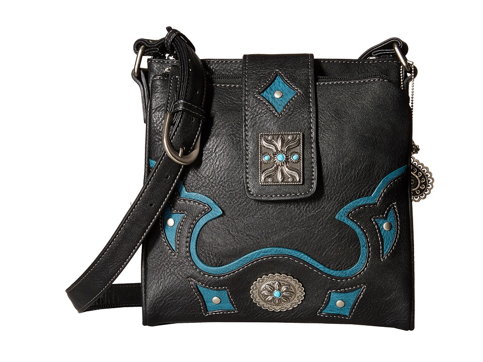 American West - Lexington Organized Crossbody (Black/Turquoise) Cross Body Handbags