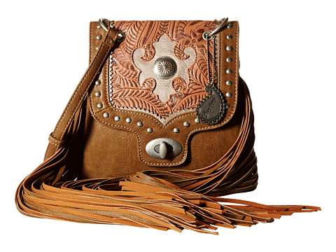 American West Winslow Fringe Flap Crossbody - Taupe/Rose/Silver