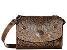 American West Woodland Bloom Crossbody/Wallet (Distressed Charcoal Brown/Sand/Blue)