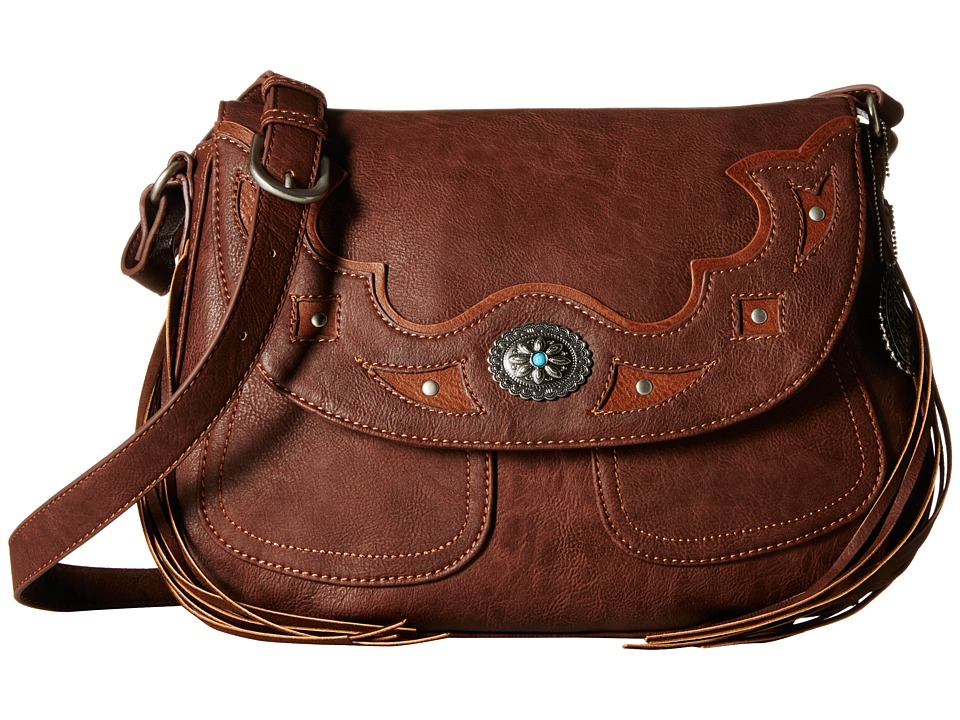 American West - Lexington Flap Crossbody (Chocolate/Tan) Cross Body Handbags