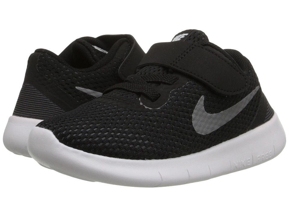 Nike Kids Free RN (Infant/Toddler) (Black/Anthracite/Metallic Silver) Boys Shoes