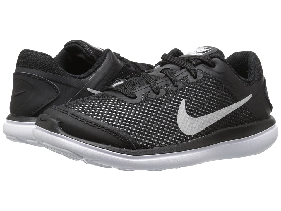 Nike Kids Flex 2016 RN (Little Kid) (Black/White) Boys Shoes