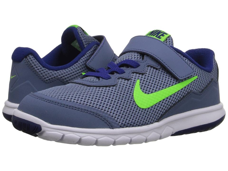 Nike Kids - Flex Experience 4 (Little Kid) (Ocean Fog/White/Deep Royal Blue/Electric Green) Boys Shoes