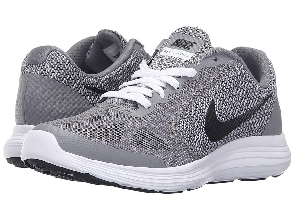 Nike Kids Revolution 3 (Big Kid) (Cool Grey/White/Wolf Grey/Black) Boys Shoes