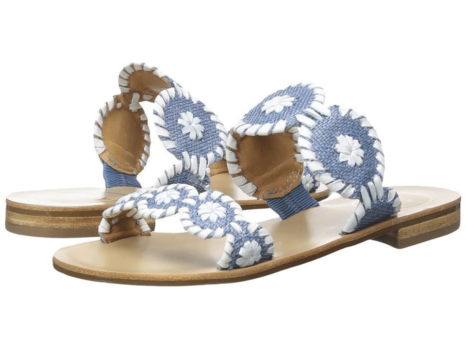 Jack Rogers Lauren Raffia Blue Raffia Womens Sandals