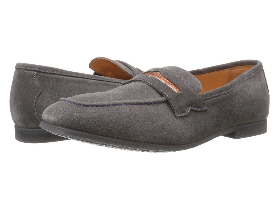 Robert Graham Sandhills Grey Velour Suede Mens Slip on Shoes