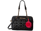 Betsey Johnson Woven Bows Satchel (Black)