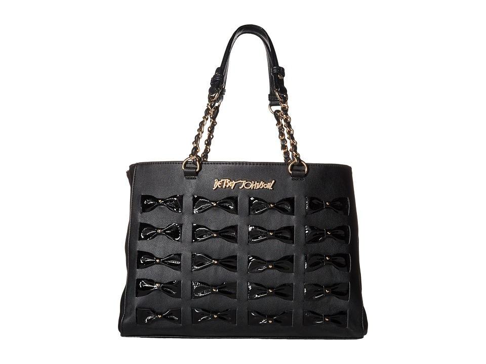 Betsey Johnson - Woven Bows Tote (Black) Tote Handbags
