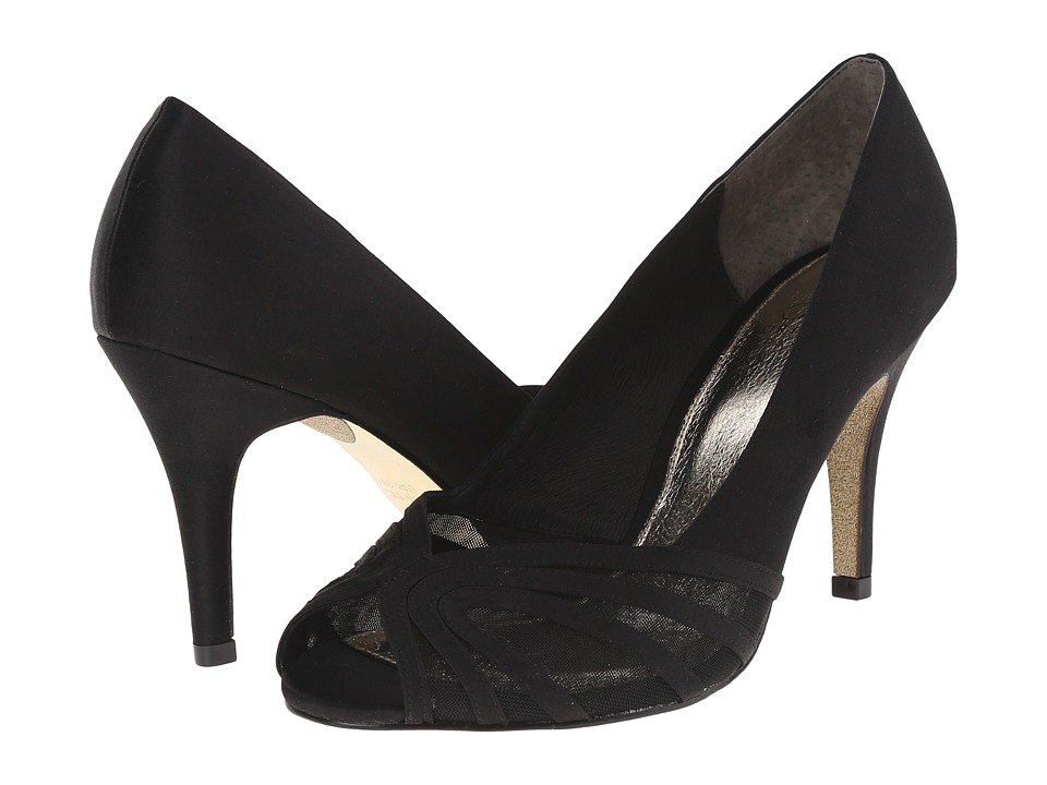 Adrianna Papell Fergie Black Satin/Mesh Womens Shoes