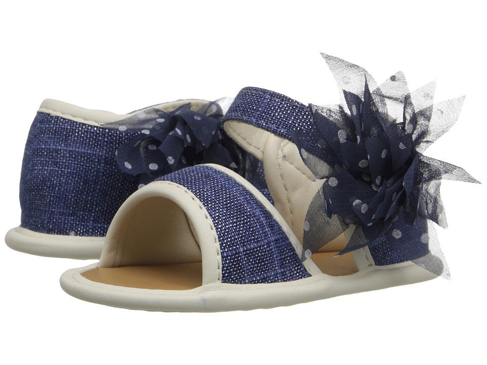Baby Deer Linen Sandal Infant Navy Girls Shoes
