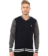 U.S. POLO ASSN. - Long Sleeve Full Zip Baseball Collared Sweater