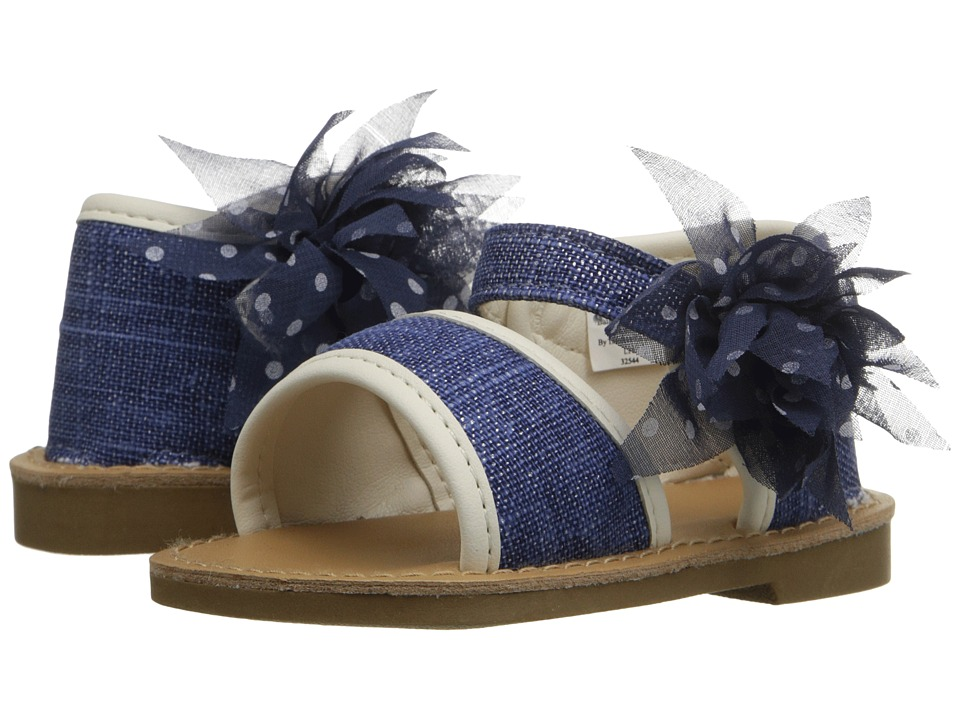 Baby Deer Linen Sandal Infant/Toddler Navy Girls Shoes
