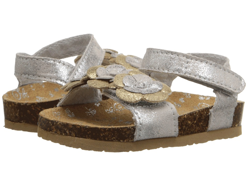 Baby Deer Double Strap Sandal with Flowers Infant/Toddler Metallic Silver Girls Shoes
