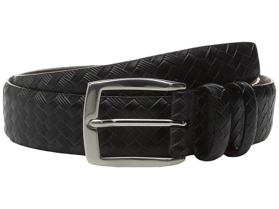 Torino Leather Co. Italian Basket Weave Embossed Leather Black Mens Belts