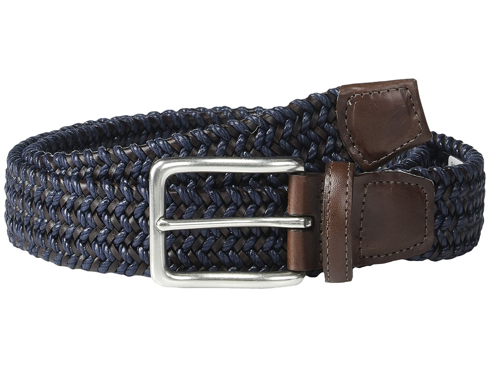 Torino Leather Co. - Italian Woven Cotton and Leather Elastic (Navy) Men
