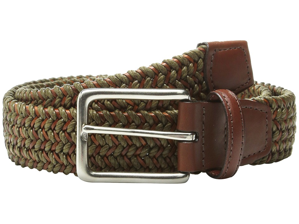 Torino Leather Co. - Italian Woven Cotton and Leather Elastic (Olive) Men