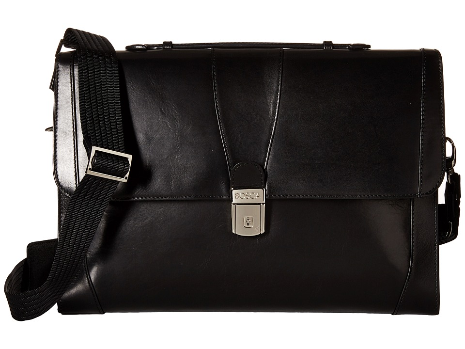 Bosca - Flap Envelope Brief (Black) Briefcase Bags